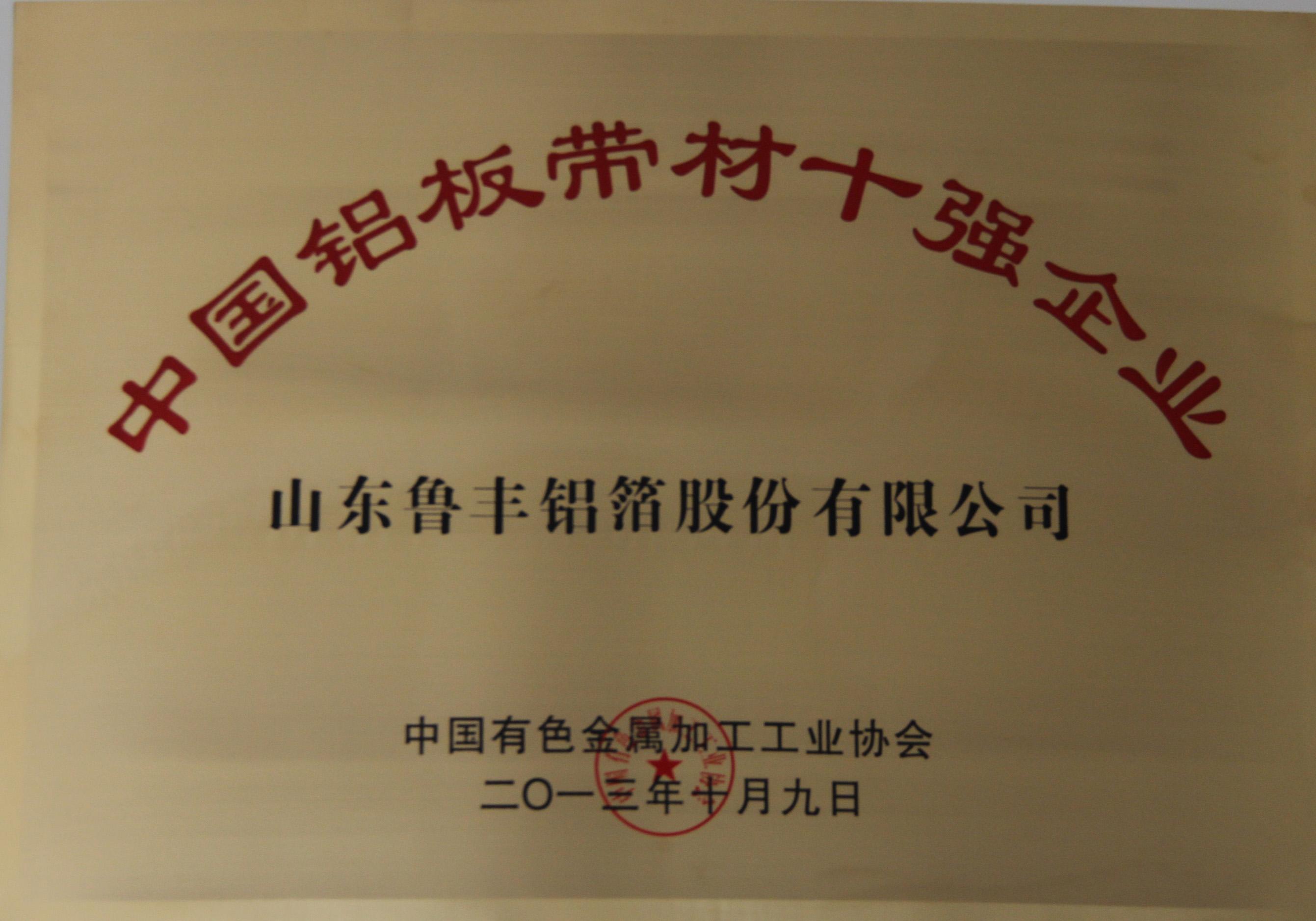鲁丰股份2013年荣登中国铝板带材行业、铝箔材行业十强榜单