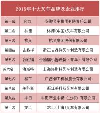 2015年十大叉车品牌及企业排行榜