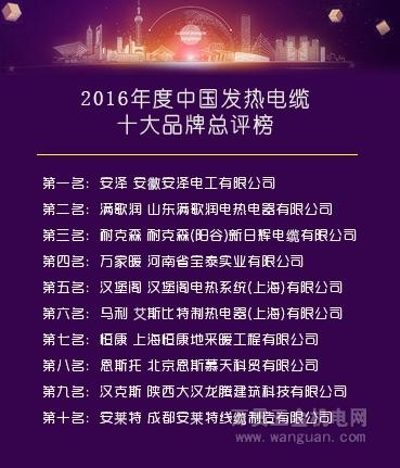 发热电缆生产厂家哪家好?2016年度中国发热电缆十大品牌总评榜