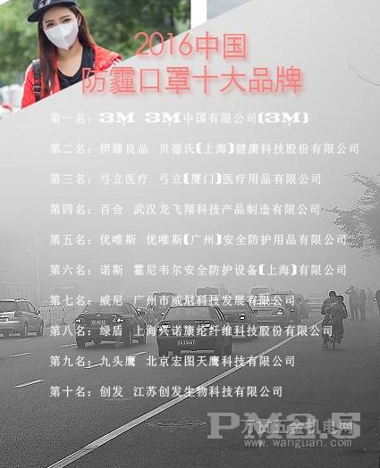 2016年度中国防雾霾口罩十大品牌总评榜