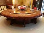 自动转盘大圆桌 转盘圆形电动餐桌 红木雕花电动餐桌 餐椅