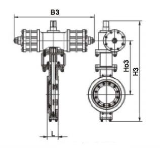 三偏心对夹硬密封气动蝶阀结构图图片