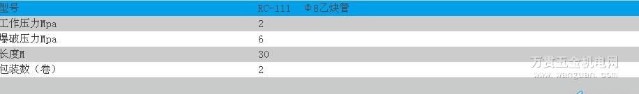 RC-111Φ8乙炔管 宁波日出牌 四川成都 价格实惠