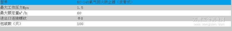 RC-145氧气回火防止器(皮管式) 宁波日出牌 四川成都