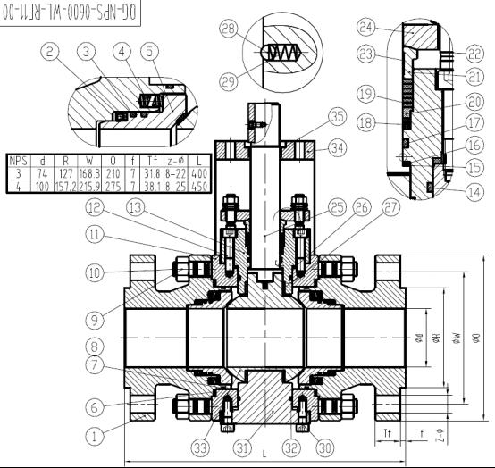 4,   哈氏合金球阀    设计方案结构示意图