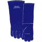 四川手工電焊手套定做 騰飛達彩藍色長袖筒款手套價格