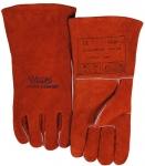 西南手工電焊手套批發 成都騰飛達銹橙色斜拇指款手套供應