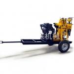 移动方便的轮式液压打井机 柴油机动力专打石头 深井钻机