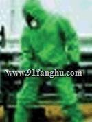 B级防护服,酸碱防化服,绿色PVC 带衬化学防护服