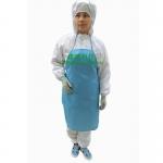 供應無塵圍裙 藍色帶口袋潔凈工作圍裙