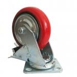 6寸铁芯聚氨酯脚轮 工业万向脚轮 转向刹车轮子