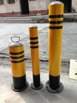 鹏翔瑞 活动带锁警示柱 铁质隔离柱 防护桩4.0寸厚