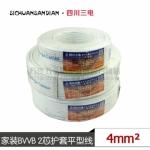 四川三电 电线电缆  100米 BVVB 2×4 硬线 2芯