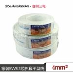 四川三电 电线电缆 100米 BVVB 3×4 硬线 3芯