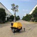 5米气动升降大功率4灯头移动照明车 全方位移动照明灯塔