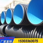 HDPE双壁波纹管 直径300排污管 外黑内蓝波纹管