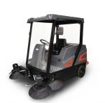 學校垃圾清掃車 操作大型電動掃地機 石子粉塵清掃無揚塵