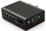 供应汉源高科4口百兆光纤收发器工业导轨式发送机