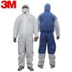 3M 4535白色带帽连体防尘防护服