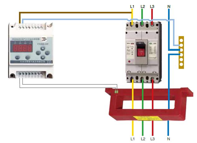TX800-DF剩余电流式电气火灾监控探测器模拟接线图