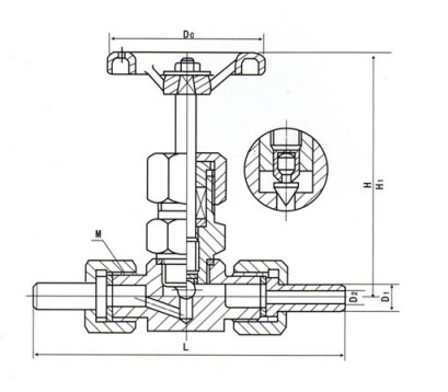 j23w外螺纹针型阀结构图