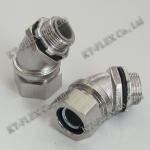 45度防水软管连接器 包塑金属软管接头 不锈钢接头